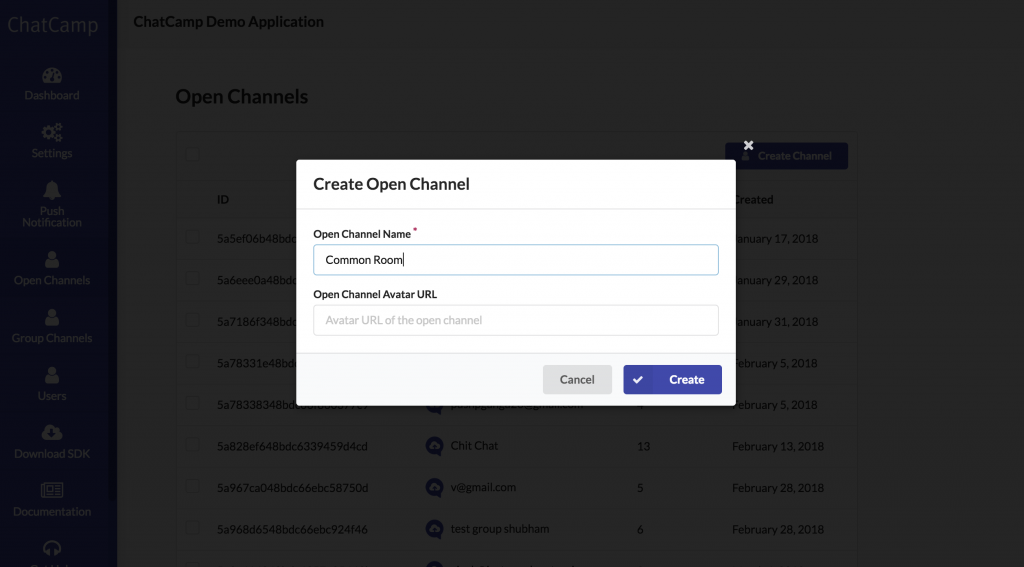 jQuery Chat App - Create Open Channel